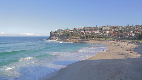 aerial pan of bronte beach Footage