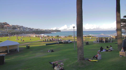 pan of bronte park and beach Stock Video Footage