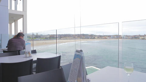 a pan from the bondi iceberg balcony overlooking t Stock Video Footage