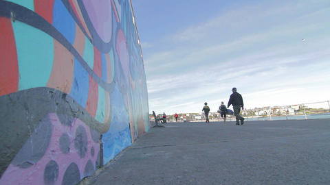 cinematic ultra wide dolly shot. Bondi grafitti an Footage