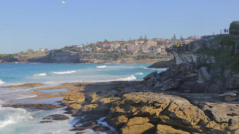 A view of neighbor Bronte beach from Bondi beach Stock Video Footage
