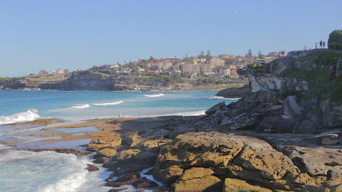 A View Of Neighbor Bronte Beach From Bondi Beach stock footage