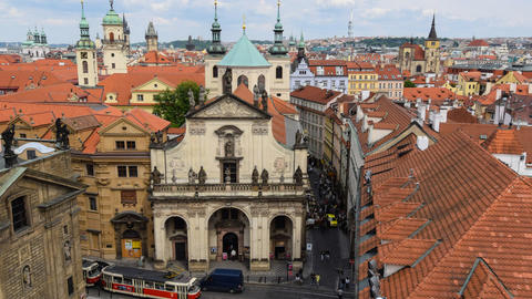 tilt historic roofs and towers of prague time 1142 Footage