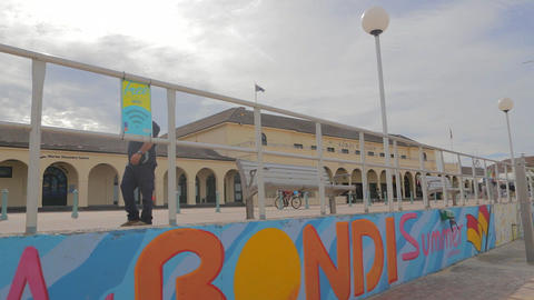 180 degree pan of sunny Bondi beach from the prome Footage