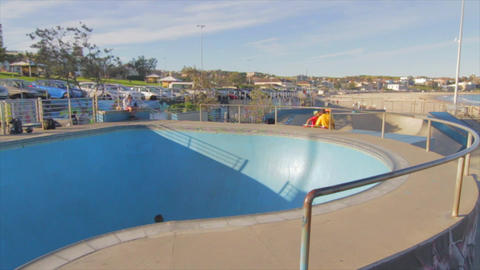 young kid skateboards in bondi skate bowl Footage