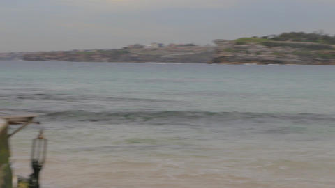 a pan of bondi beach in good weather taken from th Stock Video Footage