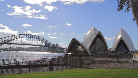 the opera house and sydney harbour bridge from the Footage