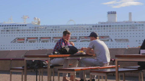 lunch at a patio at circular quay harbour Stock Video Footage