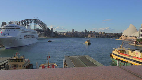 great view of circular quay, opera house, and the Stock Video Footage