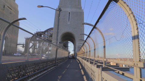 the pedestrian walkway on the harbour bridge pan t Footage