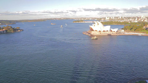 aerial pan of opera house, circular quay and the r Footage