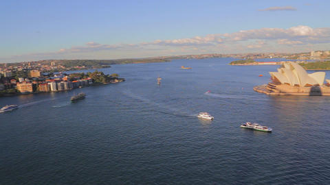 180 degree aerial pan from circular quay to the ha Footage