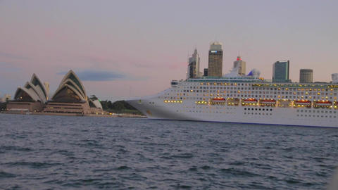 Large cruise ship moves in front of the Sydney Ope Footage