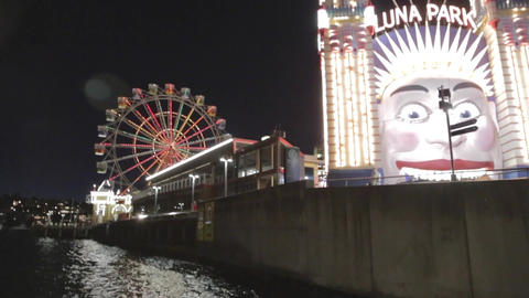 a evening view of the luna park in north sydney Stock Video Footage