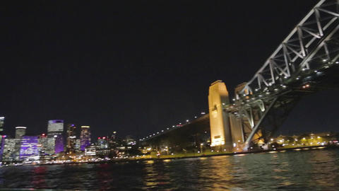 a view of the sydney harbour bridge, cbd, and the  Footage