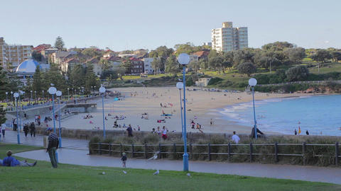 late afternoon view of bondi beach side angle Stock Video Footage