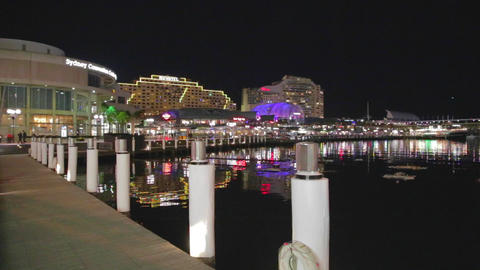 An Evening Landscape Of The Sydney Convention Cent stock footage