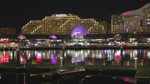 an evening pan of the hotels and sydney convention Footage