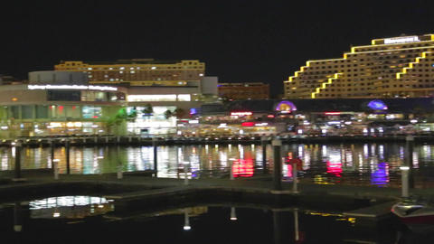 an evening pan of the hotels and sydney convention Stock Video Footage