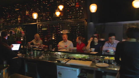 surrey hills sydney nightlife - pan at a wine bar Stock Video Footage
