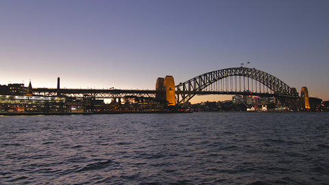an evening time lapse of the sydney harbour bridge Footage