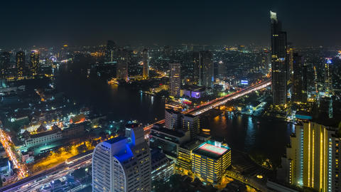 Panorama of Bangkok at Night in Time Lapse, Thaila Footage