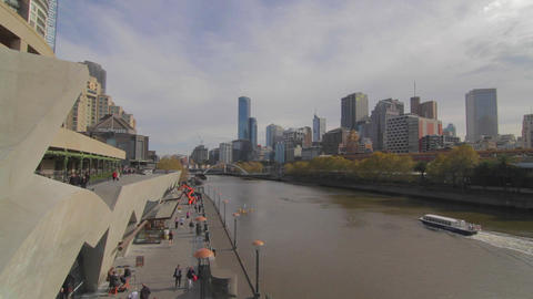 wide angle of south bank and yarra river skyline o Footage