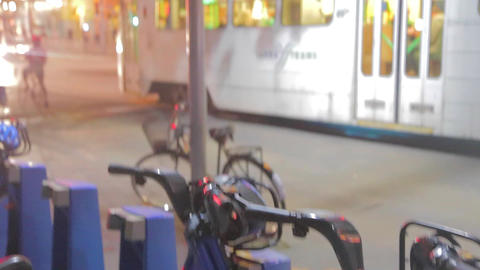 Melbourne bike rack to yarra tram with federation  Footage