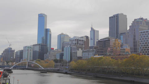 2 shots - wide people walking on bridge over bridg Stock Video Footage