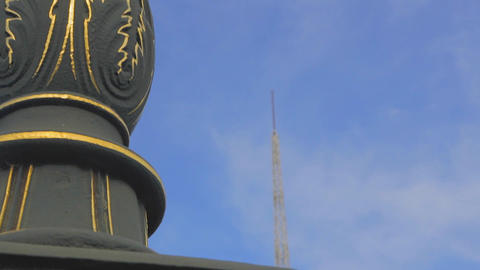 artistic shot of spire of the arts center,high to  Footage