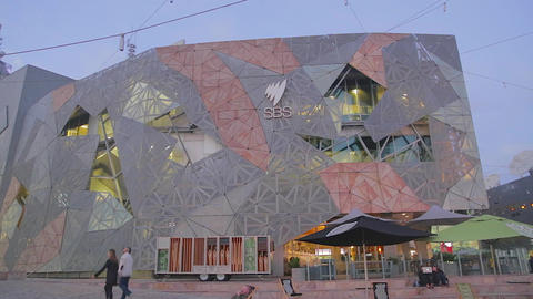 pan of federation square Footage