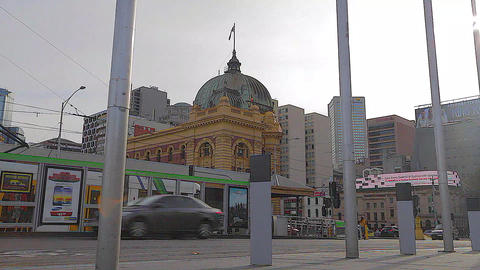 2 angles - dolly shot of flinders station - shot o Footage