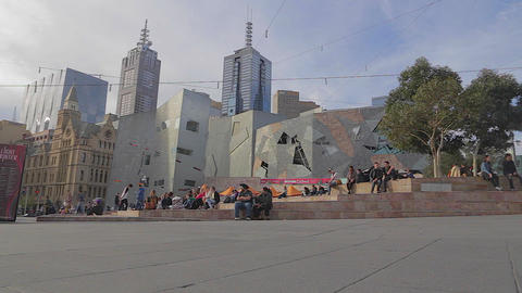 2 angles - wide pan of federation square - cinemat Footage