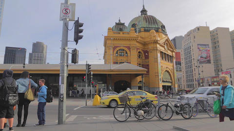 3 unique angles of Flinders street station, dolly Stock Video Footage