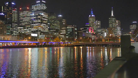 6 angles - night life at southgate - yarra river a Stock Video Footage