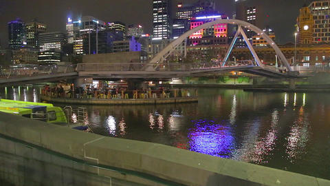 6 angles - night life at southgate - yarra river a Footage