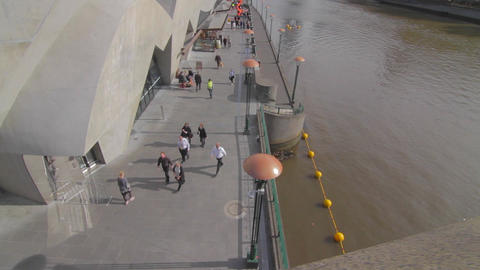 2 shots dolly shot of south bank and yarra and wid Stock Video Footage