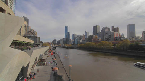 2 shots dolly shot of south bank and yarra and wid Footage
