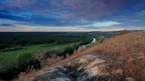 4K. Timelapse sunset on the river Seversky Donets. Footage