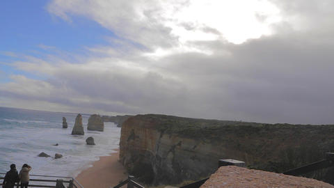 wide shot of the 12 apostles with blue skies Footage