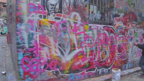 3 angles - pacman art, live graffiti at hosier and Stock Video Footage