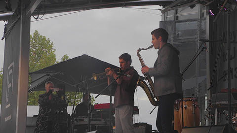 3 angles - a jazz band jams live at the jazz festi Footage