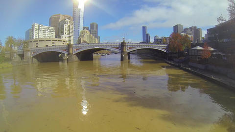 an aerial shot floating above the yarra river faci Stock Video Footage