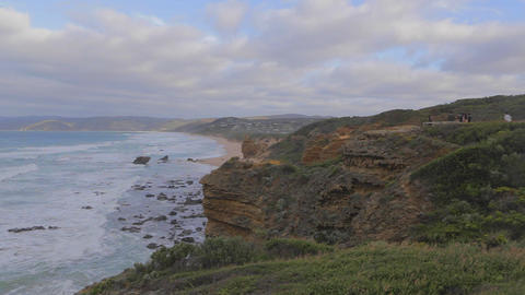 pan the of Cape Otway coast Stock Video Footage