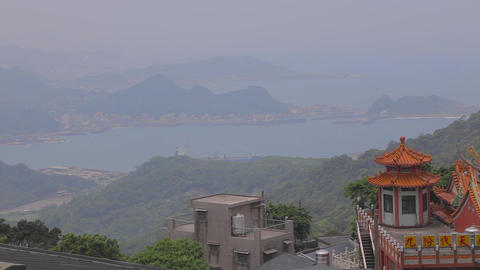 a view of the the jiufen coast line Footage
