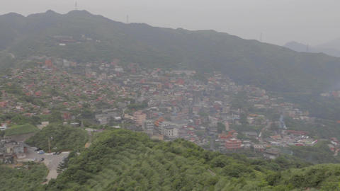 slow 180 pan of jiufen from keelung mountain Footage