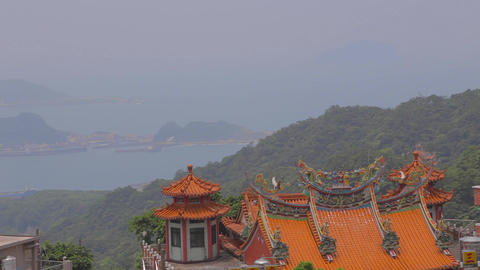 pan of the the jiufen coast line Stock Video Footage