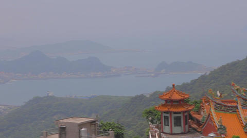 pan of the the jiufen coast line Footage