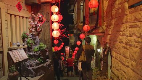 red lanterns on Shuchi street Footage