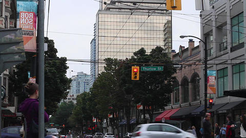 robson and thurlow intersection Stock Video Footage